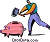 Man smashing piggy bank Vector Clipart picture