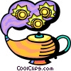 Financial Concepts Magic lamp and coins Vector Clip Art graphic