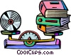 Cd storage compared to books Vector Clipart picture
