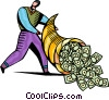 Businessman with cornucopia of cash Vector Clip Art image