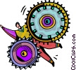 Businessman caught in gears Vector Clip Art image