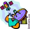 Satellite communication man on cell phone Vector Clipart image