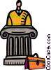 Businessman at pedestal with briefcase Vector Clip Art picture