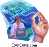 Vector Clipart graphic  of a Computer Service and Repair