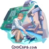 Researcher with robotics Vector Clip Art graphic