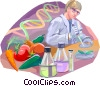 Researcher with beakers and vegetables Vector Clipart picture
