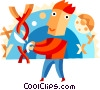 Medical Research Doctor cutting DNA Vector Clipart image
