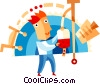Doctor with IV Vector Clipart illustration