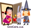 Vector Clipart illustration  of a children trick or treating