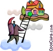 Vector Clip Art picture  of a Climbing Ladders