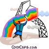 Businesswoman building a rainbow Vector Clip Art graphic
