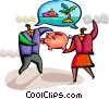 Man and woman saving for vacation Vector Clip Art graphic