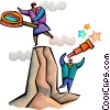 Vector Clip Art graphic  of a Reaching the Summit