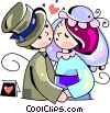 Bride and groom kissing Vector Clip Art picture