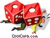 Vector Clip Art graphic  of a Businessman crushed by dice