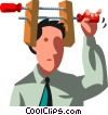businessman with his head in a vice Vector Clipart graphic