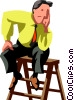businessman sitting on a ladder Vector Clipart picture