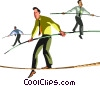 businessmen walking a tight rope Vector Clip Art image