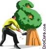 businessman chopping down his money tree Vector Clip Art picture