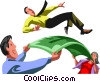Vector Clip Art graphic  of a business people playing with