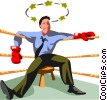 Vector Clipart illustration  of a Businessman boxer