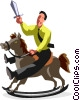 businessman on rocking horse Vector Clip Art picture