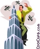 Vector Clipart graphic  of a Businessman on top of building