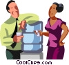 Co-workers talking by the water cooler Vector Clipart graphic