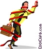 Vector Clip Art image  of a businessman tied up in red