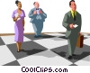 Vector Clip Art graphic  of a business people as chess