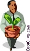 businessman with money tree Vector Clipart image
