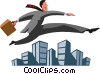 businessman leaping over buildings Vector Clipart illustration