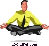 Vector Clipart illustration  of a businessman meditating