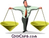 Vector Clip Art image  of a businessman with scales