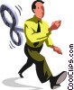 Vector Clipart graphic  of a wind up businessman