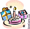 Vector Clipart image  of a Birthday cake and presents