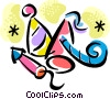 Vector Clipart picture  of a party hats and noise makers