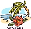 Beach scene palm tree and a flower Vector Clip Art image