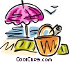 Vector Clip Art graphic  of a beach umbrella and sunbathing