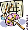 Vector Clip Art graphic  of an an oriental hand fan and a