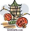 Vector Clipart illustration  of an an Asian temple with oriental
