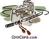 the great wall of china and a sword Vector Clip Art image