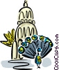 Vector Clip Art graphic  of a peacock in front of a temple
