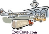Plane in the terminal waiting for to be loaded Vector Clip Art image