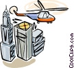 Helicopter flying over a skyline Vector Clipart picture