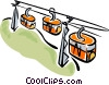 Gondola carrying skiers up the mountain Vector Clipart image