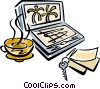 Vector Clip Art graphic  of a Laptop computer with coffee