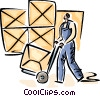 Warehouse worker is moving boxes Vector Clipart picture