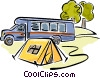 Vector Clip Art picture  of a Motor home and a tent at a