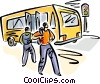Vector Clipart graphic  of a People getting off a bus